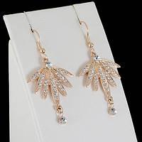 Удивительные серьги с кристаллами Swarovski, покрытые золотом 0415