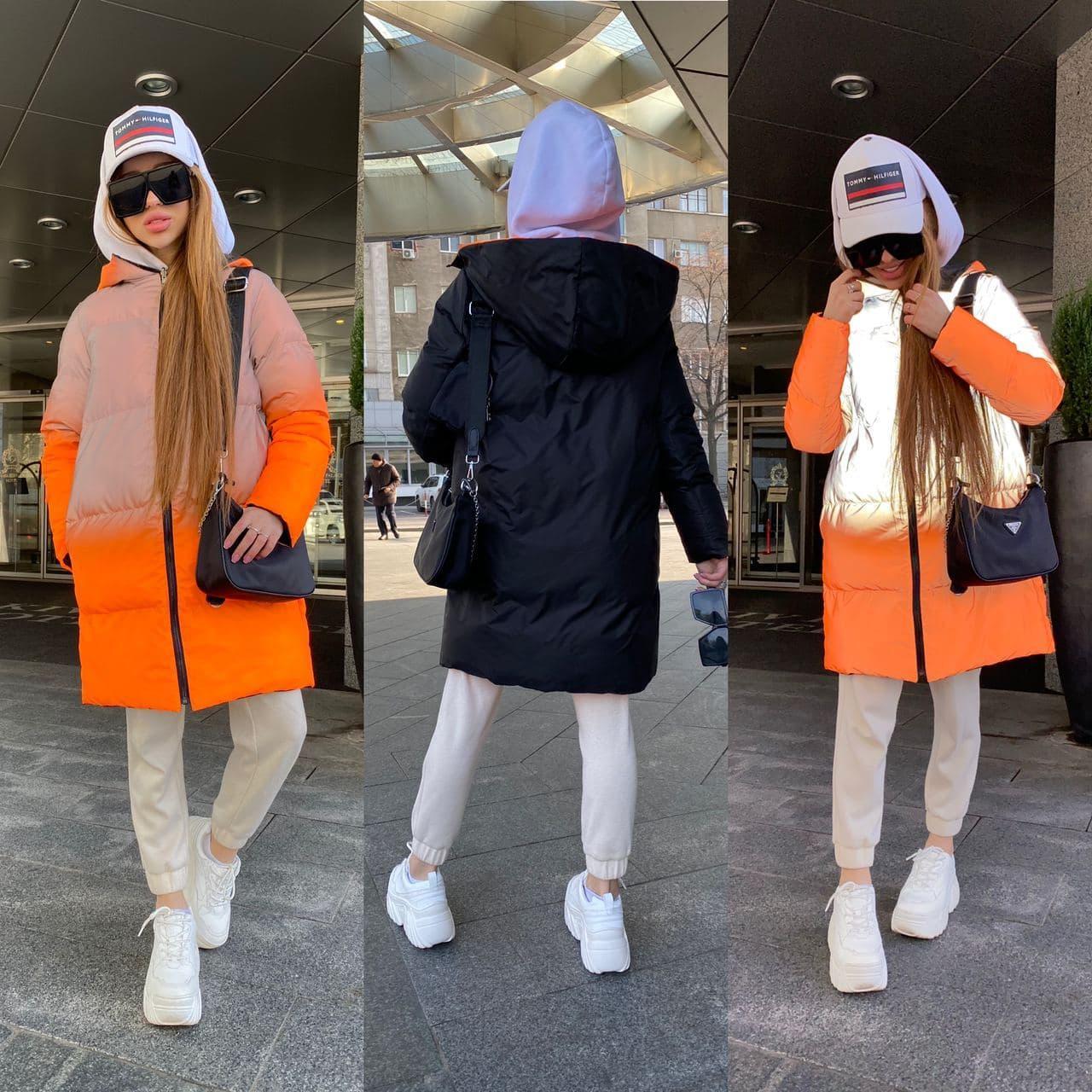Женский рефлективный двухсторонний пуховик Черный / Оранжевый