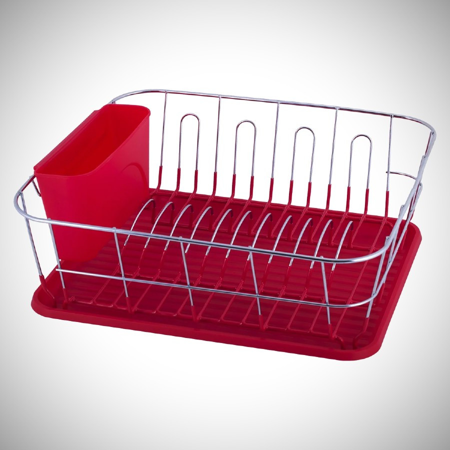 Красная сушилка для посуды Kamille 37*33*13,5см с поддоном