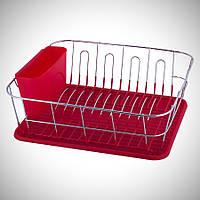 Красная сушилка для посуды Kamille 37*33*13,5см с поддоном, фото 1