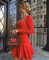 Красивое женское платье хит прожаж короткое черное красное белое ... длинный рукав
