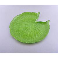 Блюдо- подставка сервировочное круглое Кувшинка зеленое, круглое блюдо, блюдо для сервировки