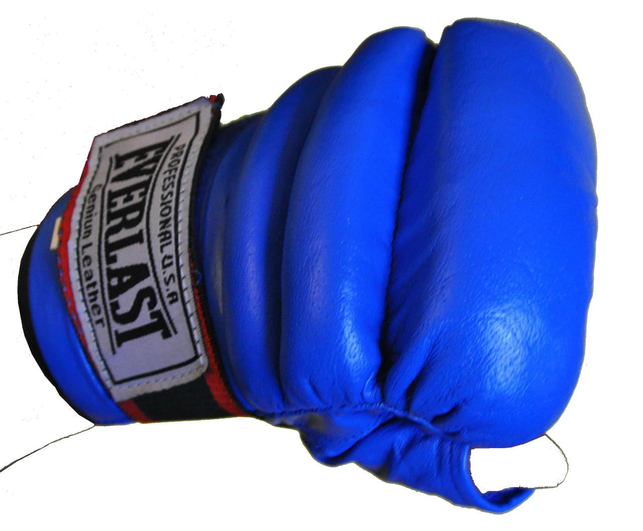 Рукавички бойові Full Contact з еластичною манжетою на липучці Шкіра ELAST VL-01045-B(L) (р-р L, синій)
