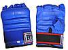 Рукавички бойові Full Contact з еластичною манжетою на липучці Шкіра ELAST VL-01045-B(L) (р-р L, синій), фото 4
