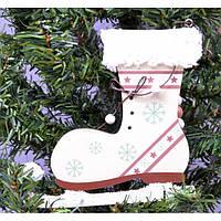 """Большая подвеска на елку """"Коньки"""" KSN203, 14.5*27 см, дерево, белый, Новогодние сувениры, Украшения"""