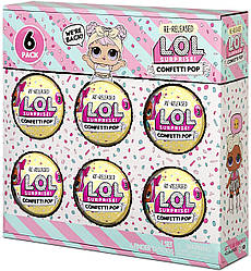 L.O.L. Surprise! Confetti Pop  - Набір лол конфеті із 6 (ЛОЛ 6 Pack  Re-Released перевипуск набір із 6 кульок)