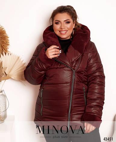 Куртка женская теплая с капюшоном демисезонная размеры: 50-60, фото 2