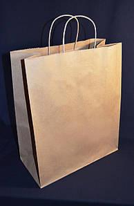 Пакет бумажный с дном 32х15х38 см., 90 г/м2, 150 шт/ящ с кручеными ручками, бурый крафт