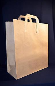 Пакет бумажный с дном 32х15х38 см., 80 г/м2, 250 шт/ящ с плоскими ручками, бурый крафт, импорт