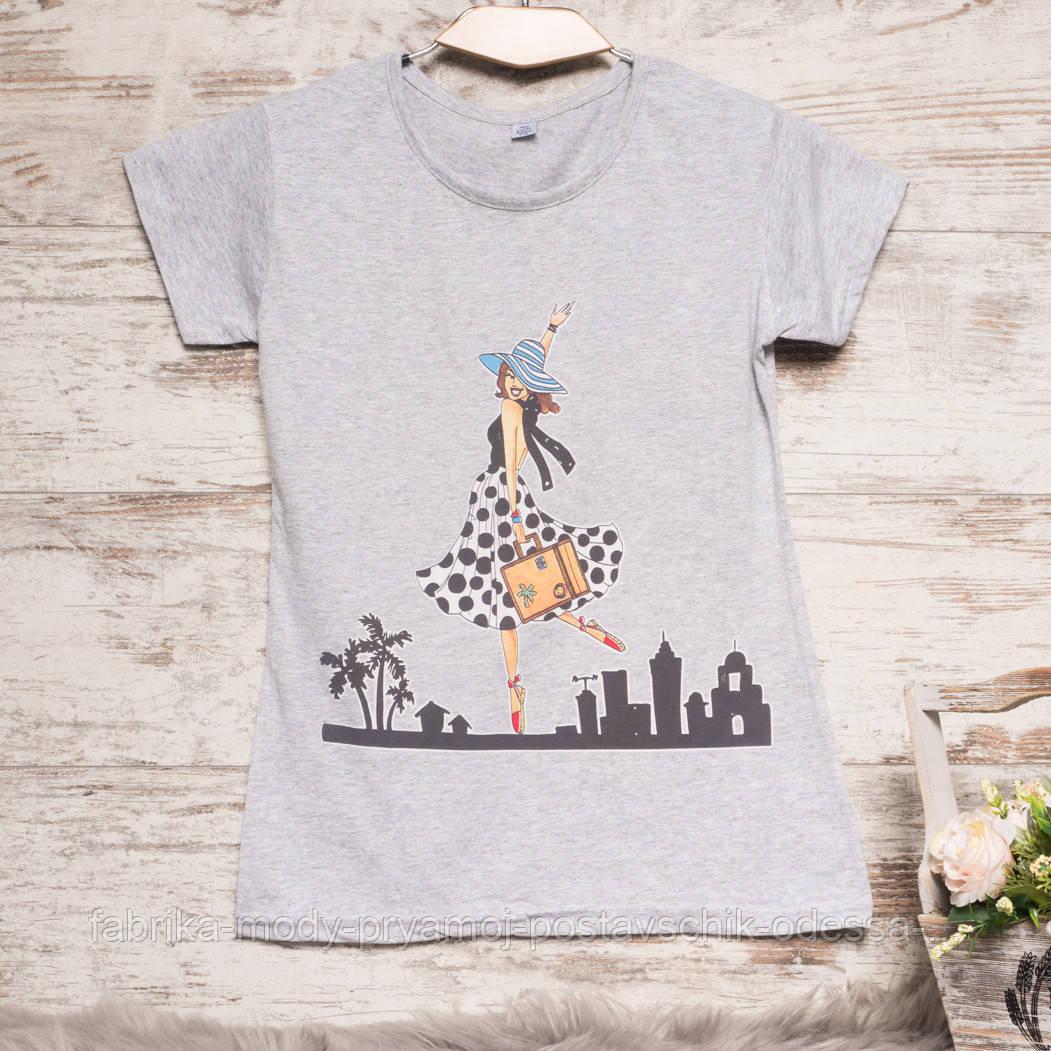 Серая женская футболка с принтом Carla Mara 3211-3