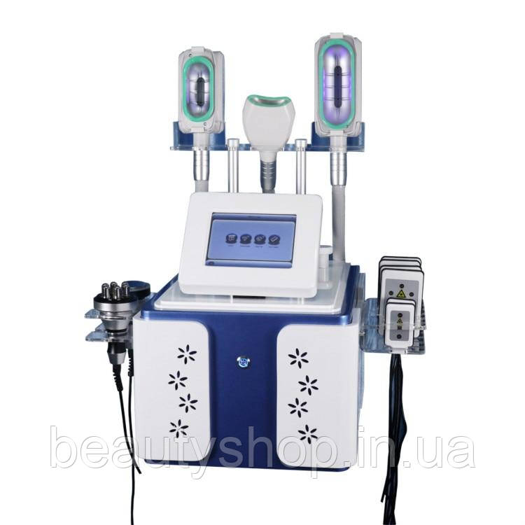 Аппарат для криолиполиза  5 в 1, РФ Лифтинг, Кавитация, Лазерный липолиз, 3 ручки Крио для похудения и коррекц