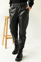 """Кожаные штаны-джоггеры утепленные на флисе """"Маркус"""" 50-52 размеры, фото 3"""