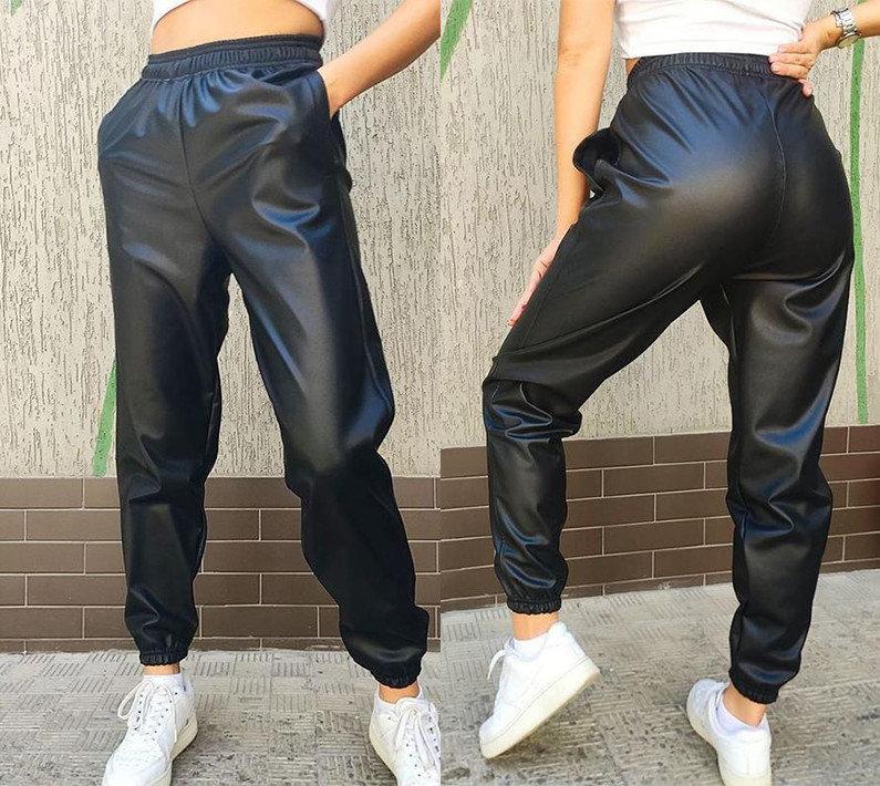 """Кожаные штаны-джоггеры утепленные на флисе """"Маркус"""" 50-52 размеры"""