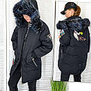 Kуртка женская черная зимняя на утеплителе с мехом Xueguihuikai 01149, фото 3