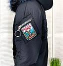 Kуртка женская черная зимняя на утеплителе с мехом Xueguihuikai 01149, фото 5