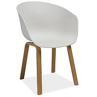 Кресло из пластика белого цвета Signal Ego с подлокотниками на ножках под дуб для кухни в скандинавском стиле