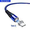 Магнитный кабель для быстрой зарядки и передачи данных Greenport M12A3  3.0A для USB Type-C Blue (M12A35), фото 2