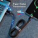 Магнітний кабель для зарядки і передачі даних Getihu 2m 3.0 A для USB Type-C Black (205P-tBk), фото 3