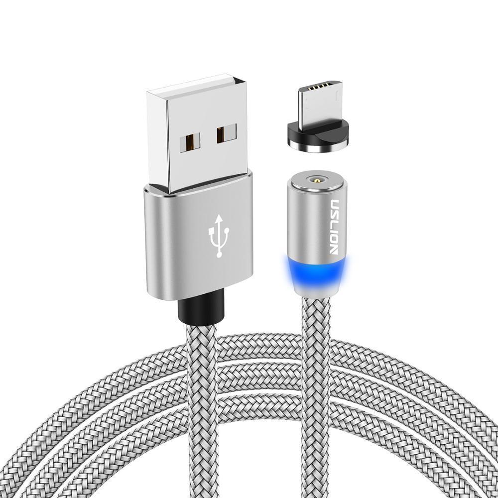 Магнитный кабель Uslion для microUSB  2.4A длиной 2 метра в нейлоновой оплётке Silver (М24А08)