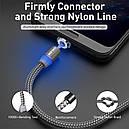 Магнитный кабель Uslion для microUSB  2.4A длиной 2 метра в нейлоновой оплётке Silver (М24А08), фото 3