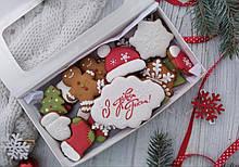 Подарочный набор к Новому Году имбирно-медовых пряников 20 шт 22х12см (пряник новогодний на подарок)