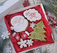"""Подарочный набор к Новому Году имбирно-медовых пряников """"Дед Мороз с ёлкой""""  20х20см"""