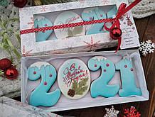 """Подарочный набор к Новому Году имбирно-медовых пряников """"Новый год 2021"""" 28х12см"""