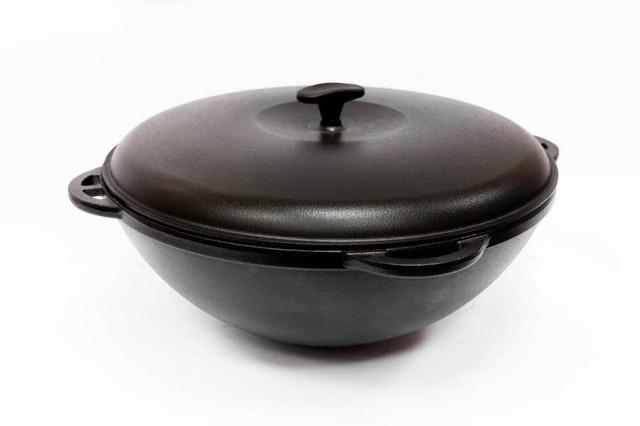 Казан чугунный азиатский, эмалированный , с чугунной крышкой. Объем 12,0 литров.