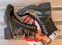Модные высокие лаковые женские ботинки тм.Santini