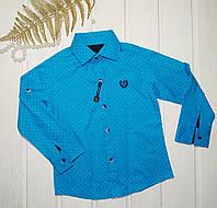 Рубашка для мальчика бирюзовая Размеры 98 104 110 122, фото 1