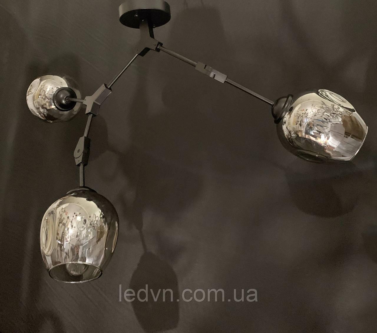 Люстра-трансформер в стиле лофт молекула на 3 лампы