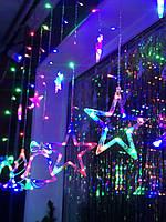 Новогодняя светодиодная гирлянда Штора на окно «Разноцветный праздник»