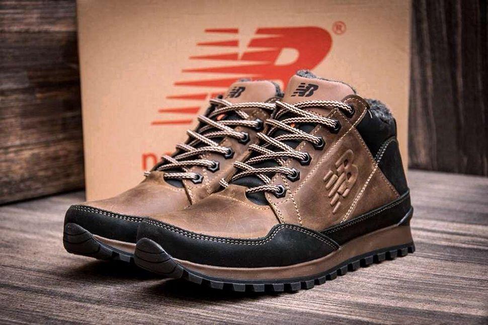Мужские коричневые зимние кожаные ботинки