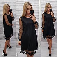 Платье с кружевом арт. 407, свободный крой, черное / черного цвета