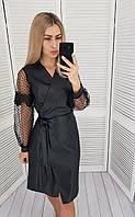 Платье из экокожи с кружевом , арт 412, цвет черное / черного цвета, фото 1
