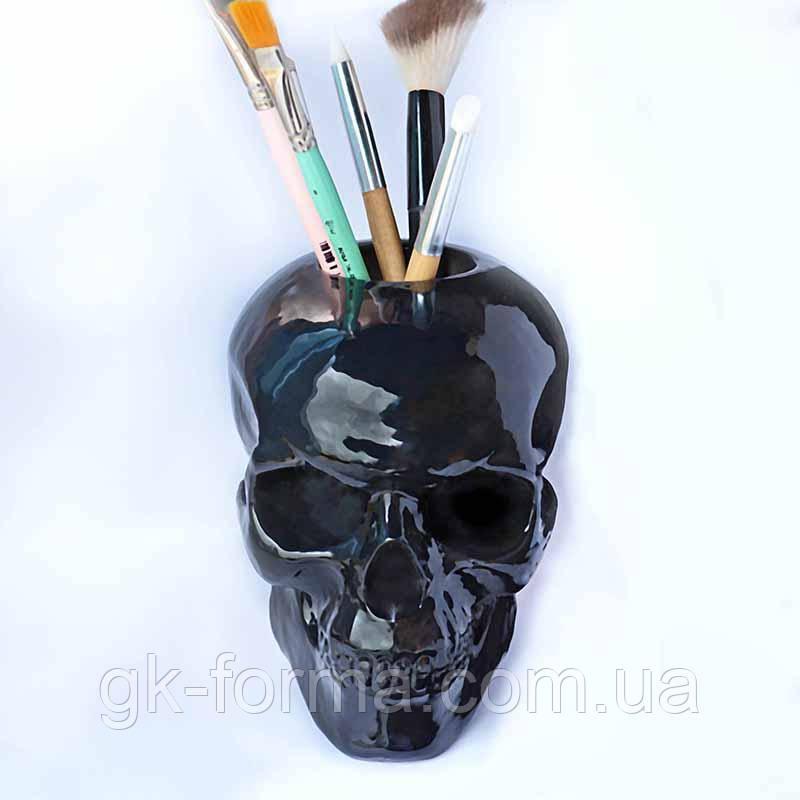 Чёрный череп с отверстием. Органайзер, подставка, статуэтка