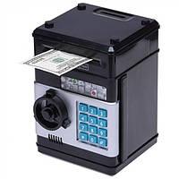 Дитячий іграшковий сейф з електронним кодовим замком, дитяча скарбничка, Чорний