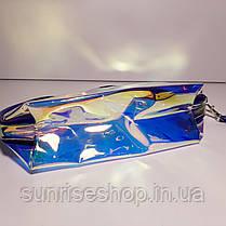 Косметичка прозрачная галографическая овальной формы с ручкой, фото 2