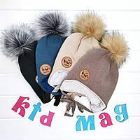 """Детская зимняя шапка на синтепоне на хлопковой подкладке """"Медвежонок Таlvi"""" в размере 46-48 см и 50-52 см"""
