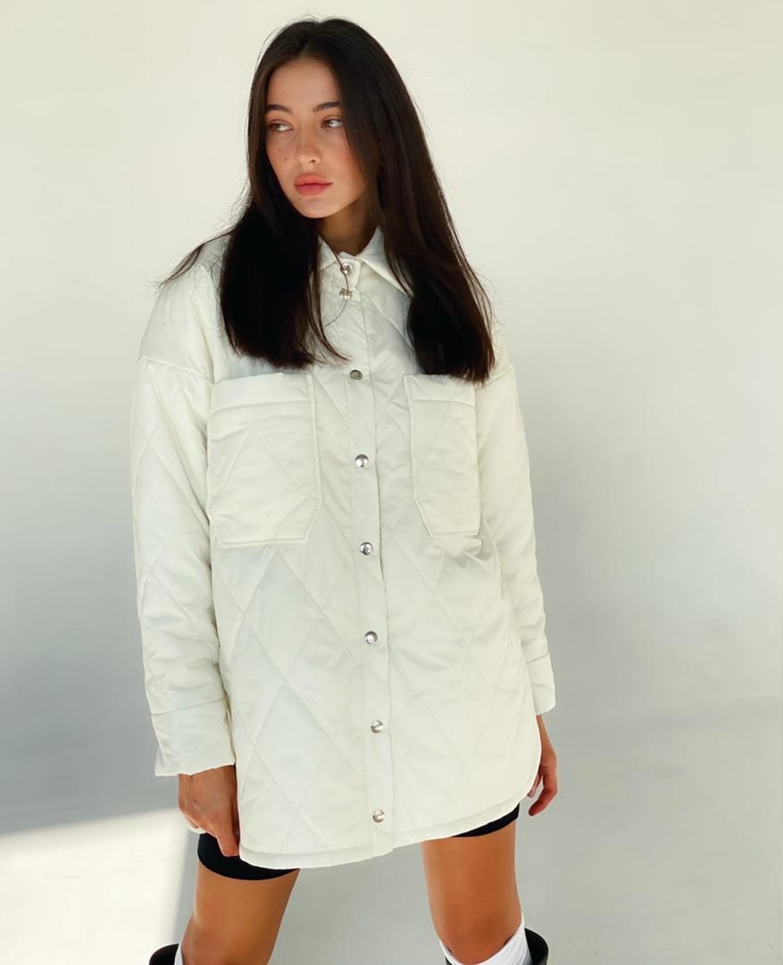 стеганая рубашка женская на синтепоне