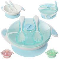 Посуда детская 4пр/наб (тарелка с крышкой, ложка, вилка) 20*6см