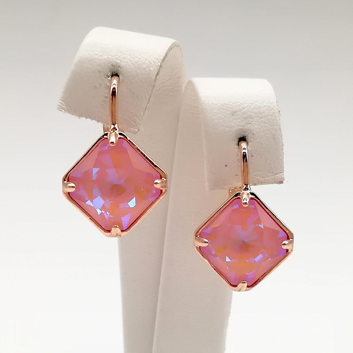Серьги SONATA из медицинского золота, кристаллы Swarovski нежно-розового цвета, позолота PO, 24772