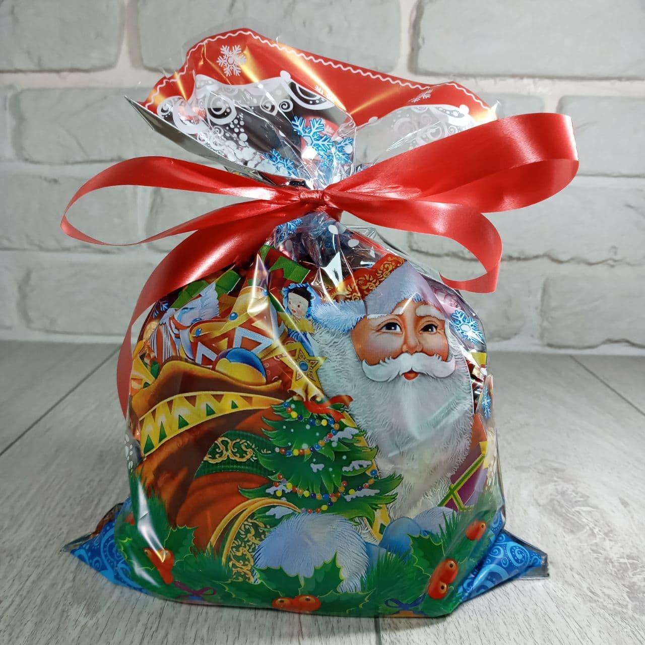 Фольгированный пакет под конфет 20см 30см Дед Мороз с подарками (100 шт)