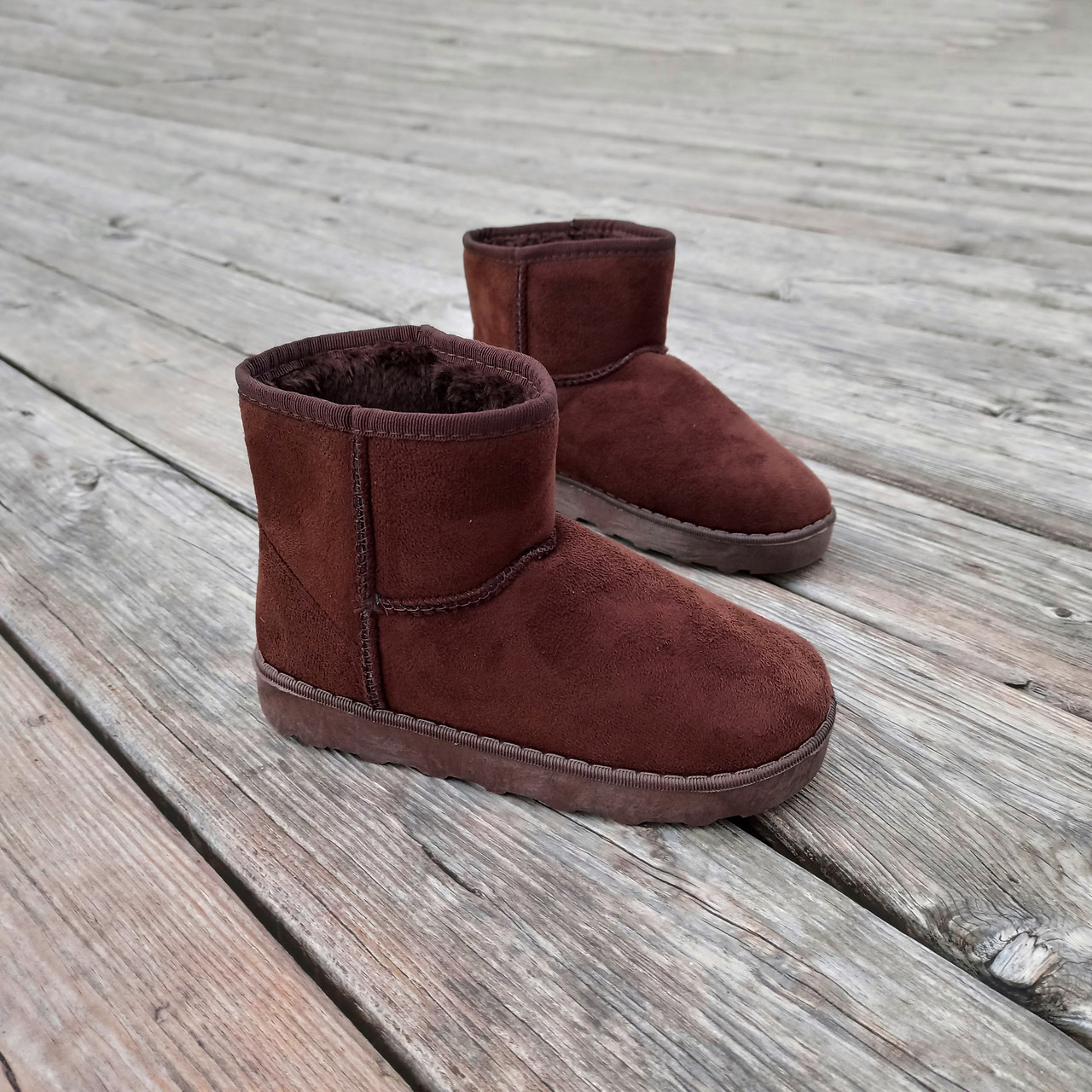31 - 35 Угги UGG детские теплые ботиночки уггі дитячі сапожки коричневые эко замшевые