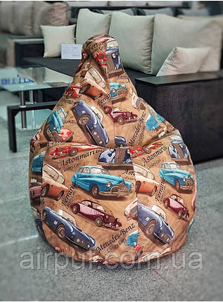 Кресло-груша (ткань Микровелюр-принт), размер 130*90 см с дополнительным чехлом, фото 2