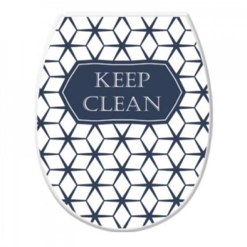 Сиденье для унитаза пластик с декором Elif Plastic Keep Clean Черно-Белая