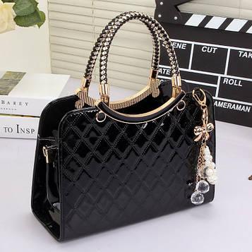 Женская сумка черная лаковая код 3-473