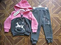 Детский  теплый костюм 3- нитка на флисе для девочки 4 года Турция