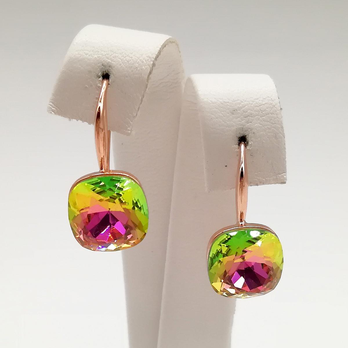 Серьги SONATA из медицинского золота, кристаллы Swarovski зелено-розового цвета, позолота PO, 24774