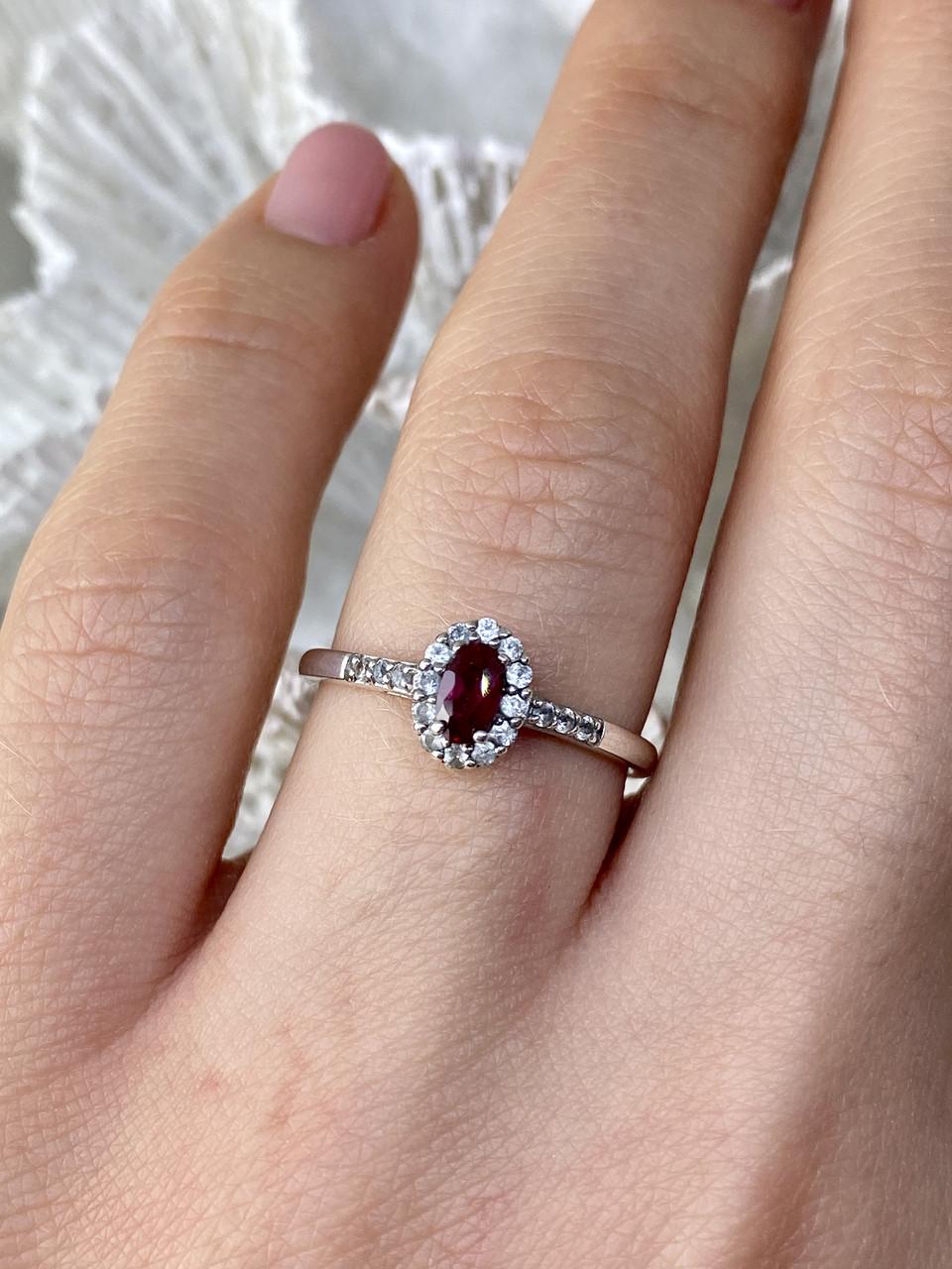 Серебряное кольцо с рубеллитом и белым турмалином